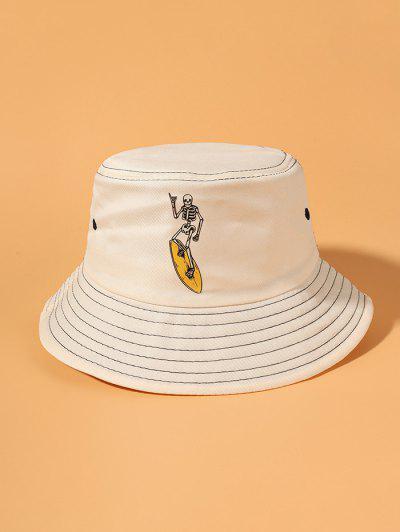 Skeleton Skateboard Print Bucket Hat - Beige