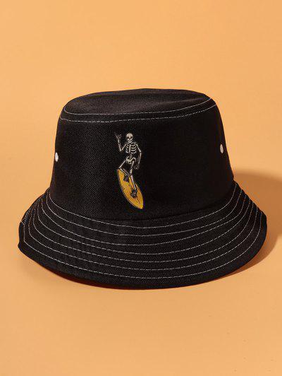 Skeleton Skateboard Print Bucket Hat - Black