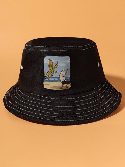 Striping Banana Print Bucket Hat - Black