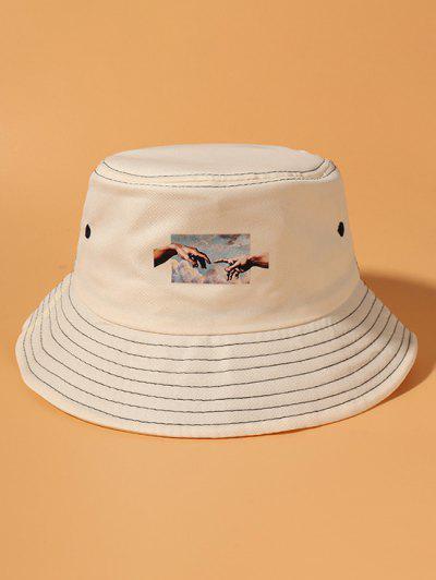 Hands Pattern Bucket Hat - Beige