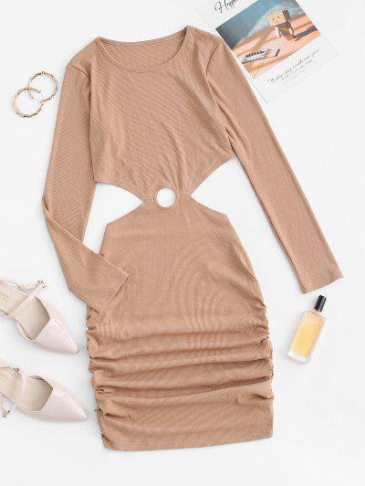Ribbed Cutout Ruched Bodycon Dress - Light Coffee Xl