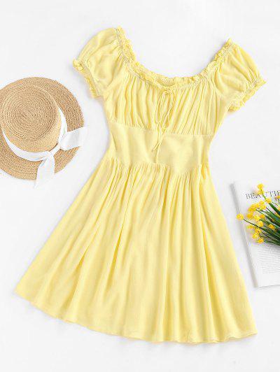 ZAFUL Ruffle Bowknot Puff Sleeve Milkmaid Dress - Yellow S