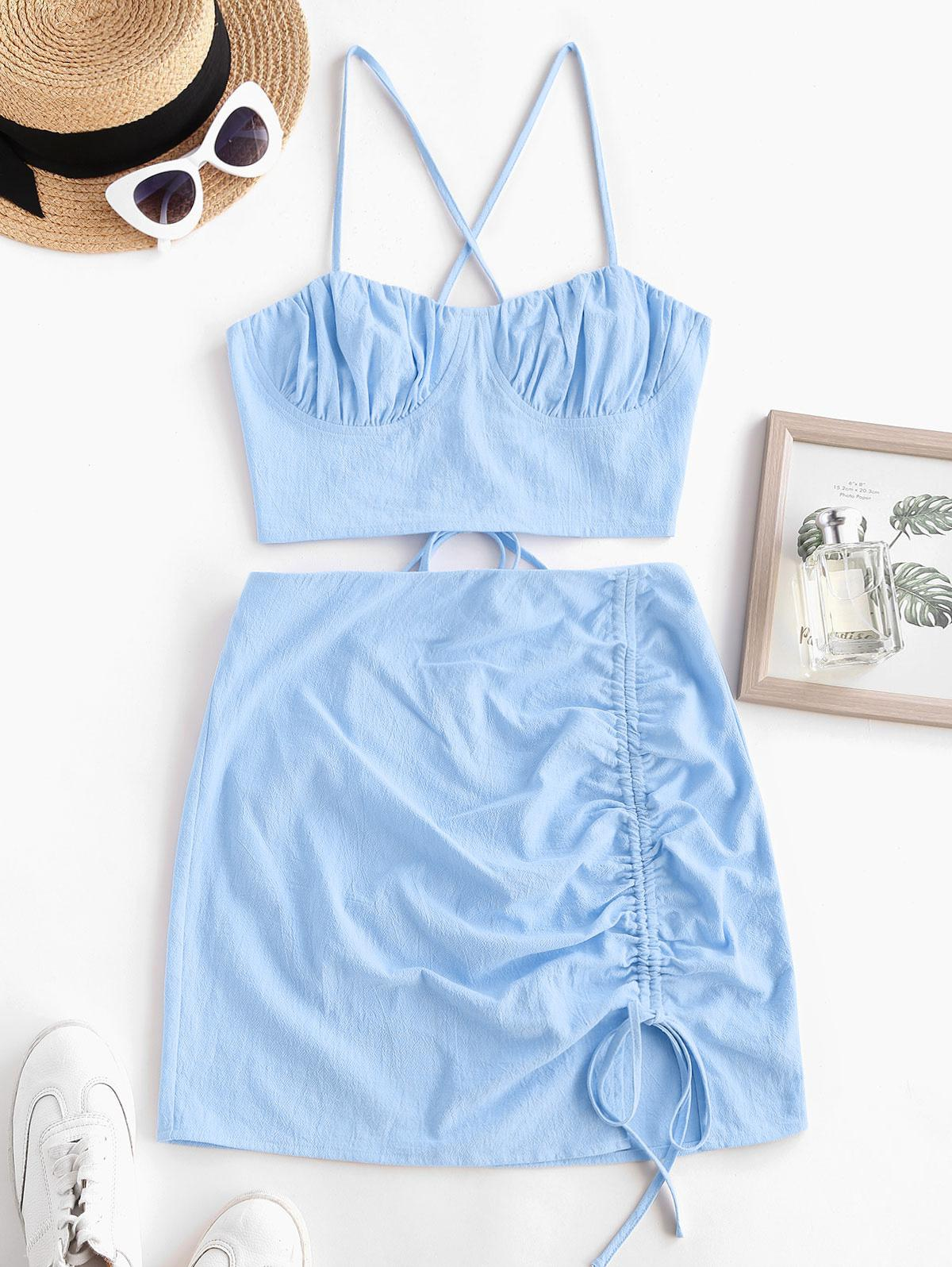 ZAFUL Criss Cross Lace Up Cinched Two Piece Dress