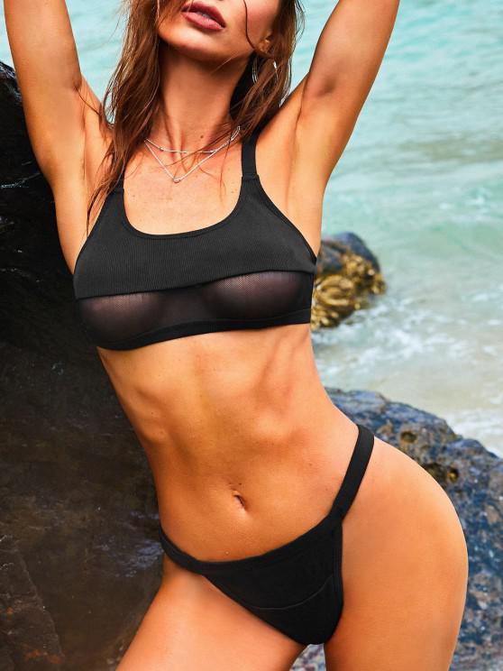 ZAFUL Cheeky Mesh Panel Tanga Bikini Swimwear - أسود S