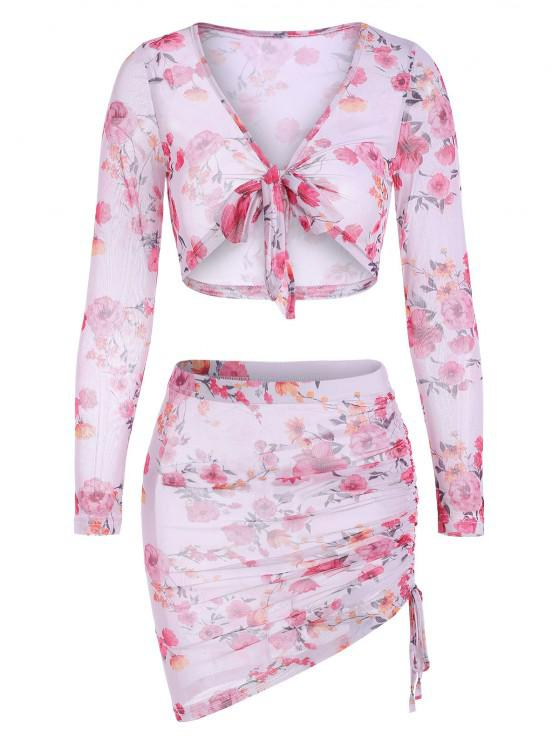 sale Floral Sheer Mesh Tie Front Cinched Skirt Set - WHITE M