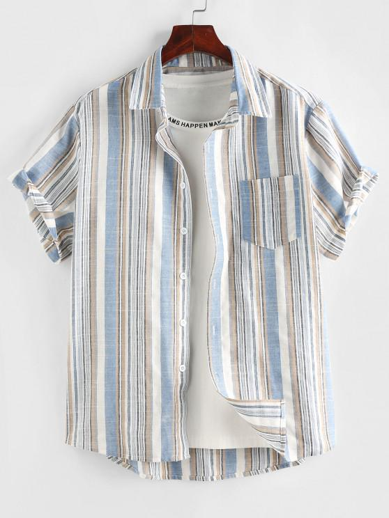 women ZAFUL Stripe Short Sleeve Pocket Patch Shirt - LIGHT BLUE S