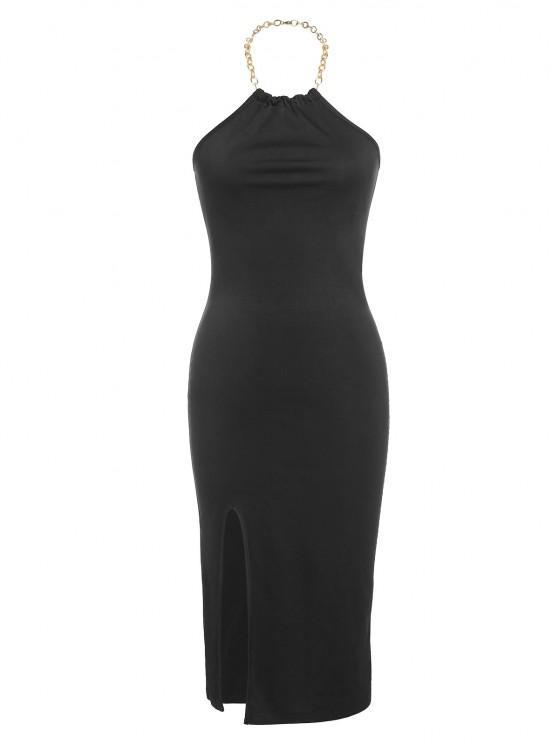 buy ZAFUL Halter Chain Slit Backless Bodycon Dress - BLACK M