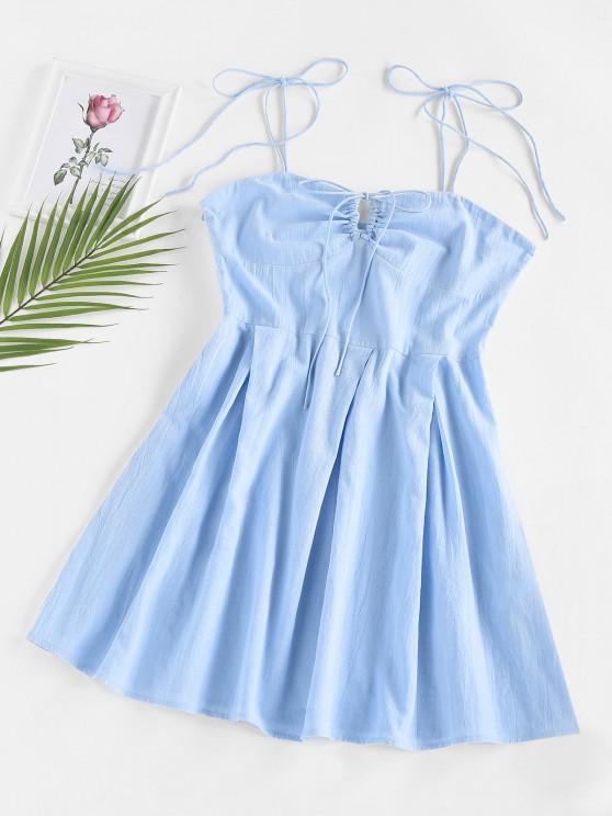 fashion ZAFUL Cinch Tie Bust Pleated Mini Dress - LIGHT BLUE S