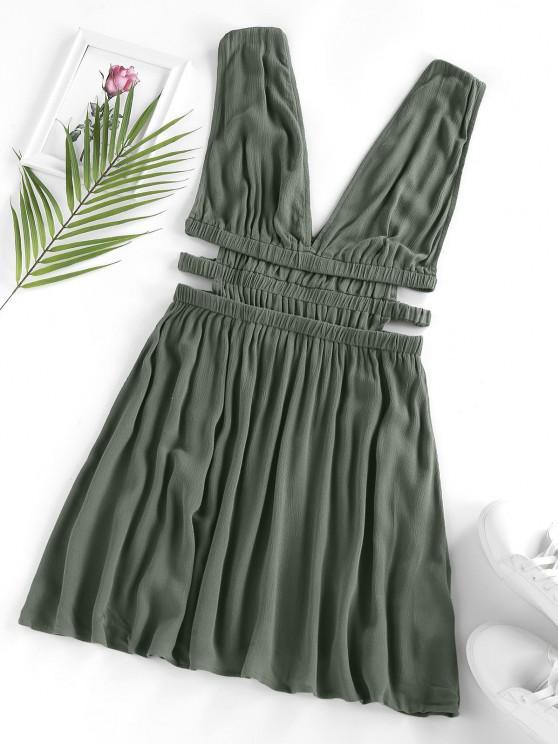 ZAFUL Mini Vestido Escotado de Cintura Alta - Verde L