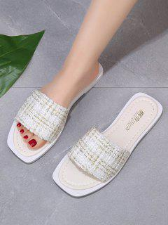 Square Toe Tweed Vamp Flat Slides - Warm White Eu 38