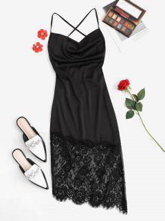 Lace Up Cowl Front Midi Party Dress - Black M