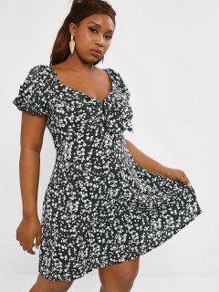 Plus Size Floral Knot Puff Sleeve Milkmaid Dress - Black L