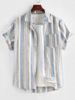 ZAFUL Stripe Short Sleeve Pocket Patch Shirt - Light Blue M