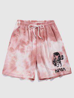ZAFUL Tie Dye Astronaut Letter Shorts - Light Pink L