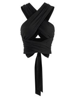 Tie Back Criss Cross Wrap Crop Top - Black