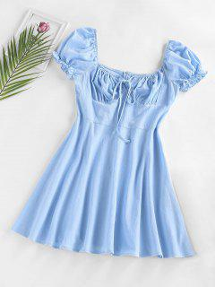 ZAFUL Ruched Bust Puff Sleeve Dress - Blue S
