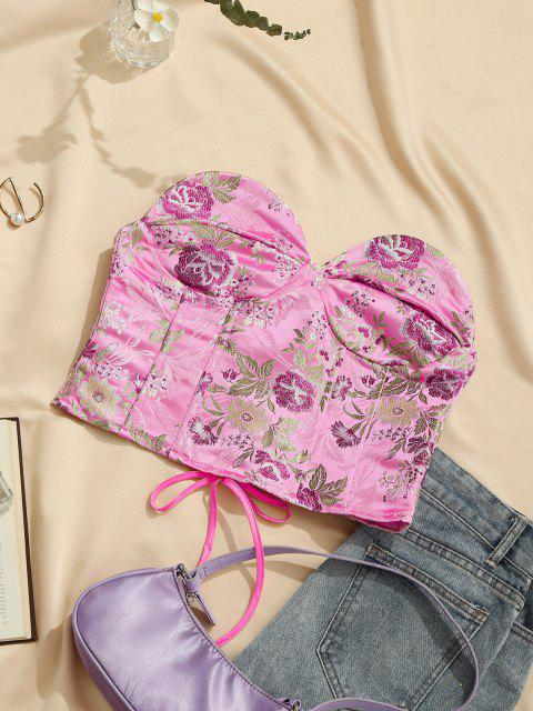 shop Lace Up Floral Jacquard Oriental Corset Top - LIGHT PINK M Mobile