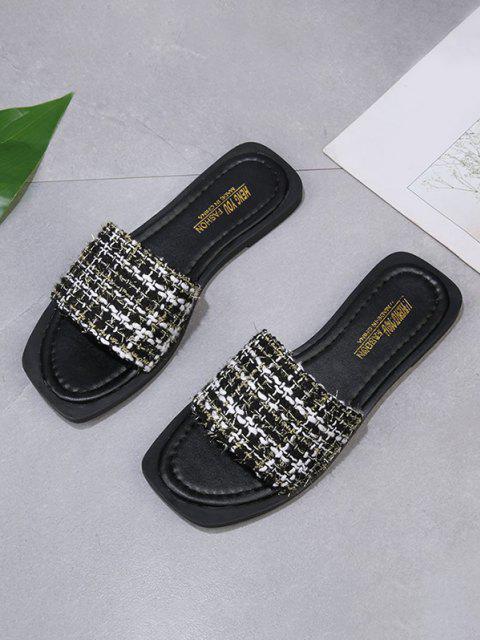 Quadratischer Zehe Tweed -Feuchtigkeitsbeständige Plastiktüte Verschlussklammer - Schwarz EU 37 Mobile