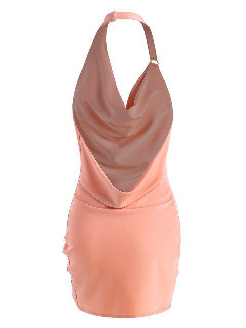 Wasserfallausschnitt Halfter Rückenfrei Etuikleid mit Rüschen - Hell-Pink M Mobile