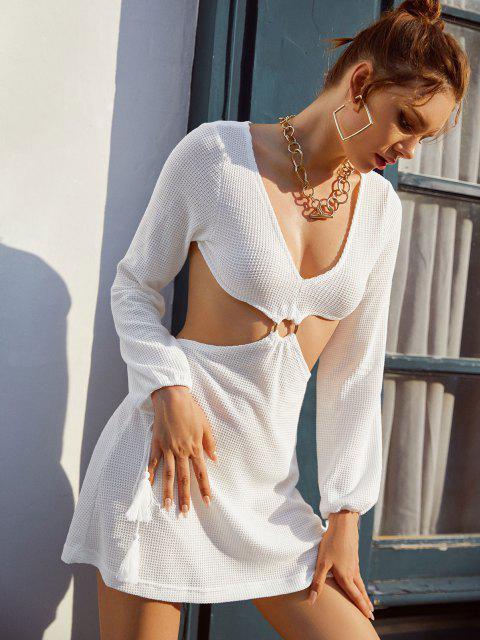 Ausschnitt Häkeln Knit Ring Quaste Kleid - Weiß S Mobile