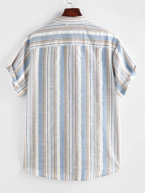 ZAFUL Gestreiftes Hemd mit Kurzen Ärmeln und Tasche - Hellblau XXL Mobile