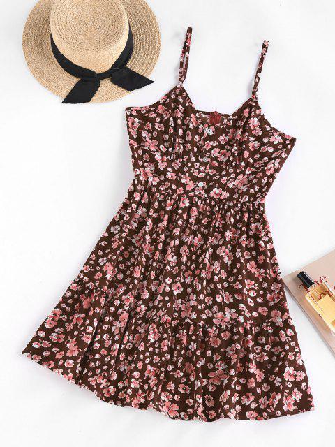 ZAFUL Abgestufte Kleid mit Blumenmuster - Kaffee M Mobile