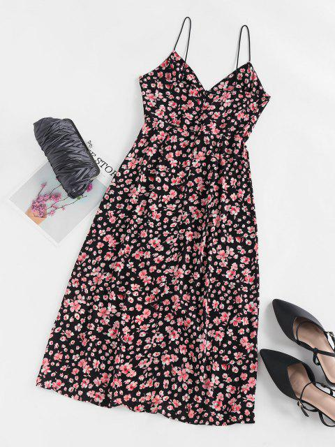 womens ZAFUL Flower Print Slit Empire Waist Dress - BLACK M Mobile