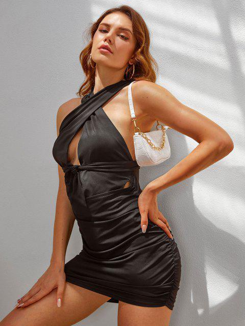 Kreuzes und Queres Bodycon Kleid mit Ausschnitt und Rüschen - Schwarz S Mobile