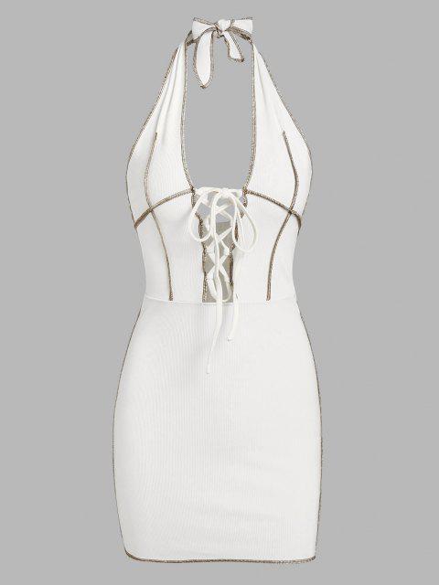 ZAFUL Bodycon Rückenfreies Clubkleid mit Schnürung - Weiß S Mobile