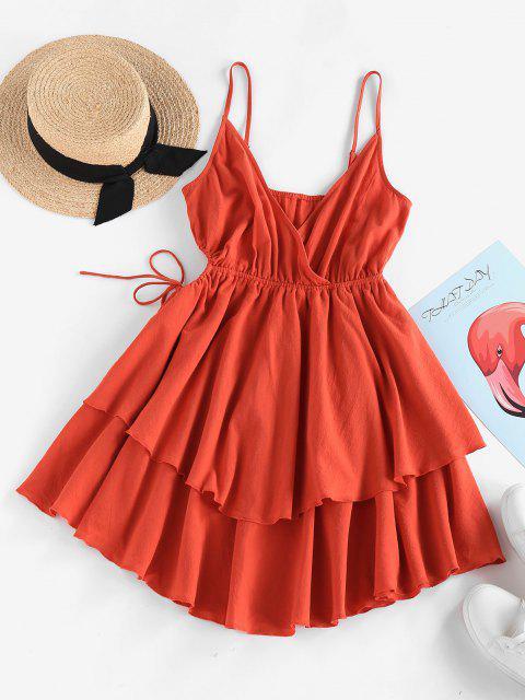 ZAFUL Taille Geschichtetes Kleid mit Ausschnitt - Orange XL Mobile