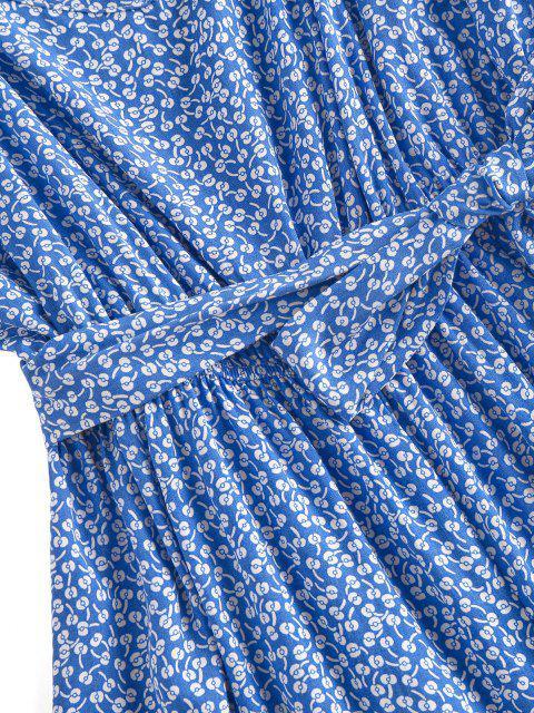 ZAFUL Mono Femenino de Pierna Ancha con Estampado de Flores con Cinturón - Azul L Mobile
