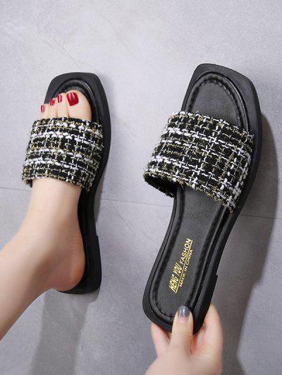Square Toe Tweed Vamp Flat Slides - Black Eu 38