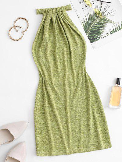 Halter Knit Backless Slinky Dress - Green L