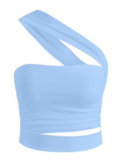 One Shoulder Ruched Cutout Crop Top - Light Blue M