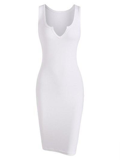 Robe Fourreau Simple à Col En V Qui Fait-Main - Blanc S