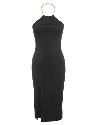 ZAFUL Halter Chain Slit Backless Bodycon Dress - Black S