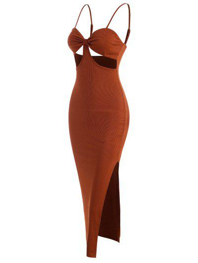 Cut Out Slit Ribbed Slinky Cami Dress - Coffee S