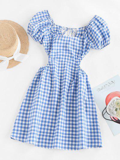 ZAFUL Gingham Puff Sleeve Open Back Mini Dress - Blue S