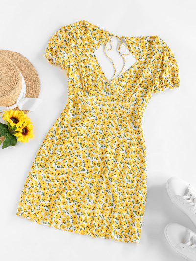 ZAFUL Ditsy Print Open Back Tie Ruffle Dress - Light Yellow M