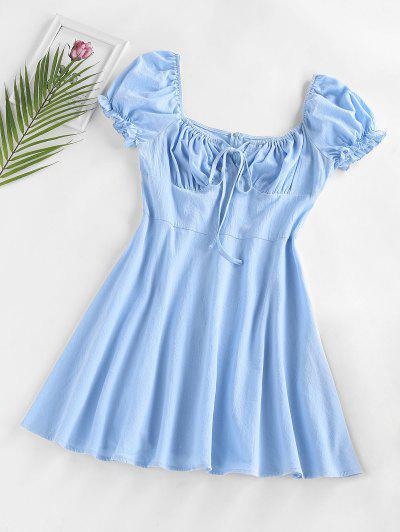 ZAFUL Ruched Bust Puff Sleeve Dress - Blue M