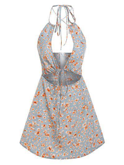 ZAFUL Flower Print Cutout Halter Dress - Light Blue Xl
