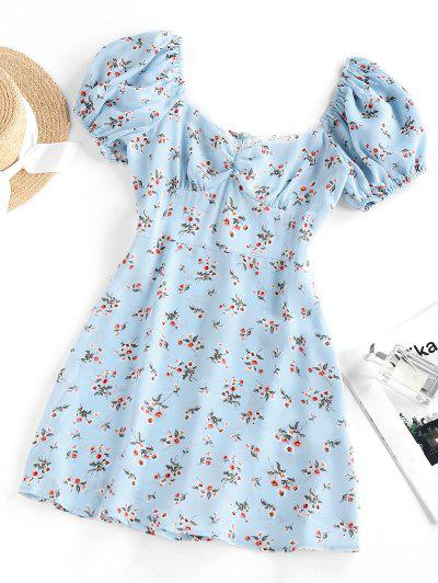 ZAFUL Flower Print Lace Insert Puff Sleeve Ruched Dress - Light Blue Xl