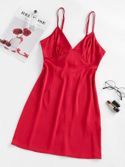 ZAFUL Bow Tie Back Cutout Cami Dress - Red M