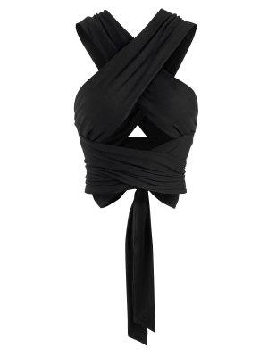 zaful Tie Back Criss Cross Wrap Crop Top
