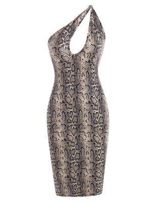 zaful Snake Print Cutout One Shoulder Dress