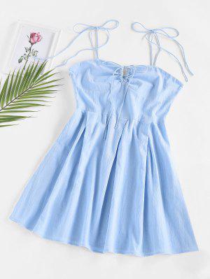 zaful ZAFUL Cinch Tie Bust Pleated Mini Dress