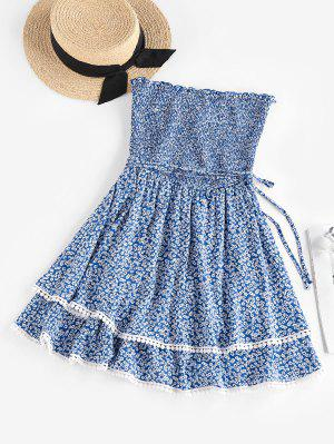 zaful ZAFUL Ditsy Floral Smocked Layered Tube Dress