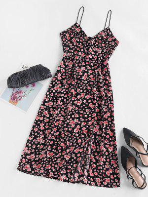 zaful ZAFUL Flower Print Slit Empire Waist Dress