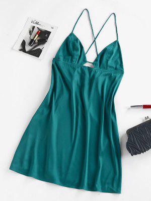 zaful ZAFUL Backless Satin Mini Cami Dress