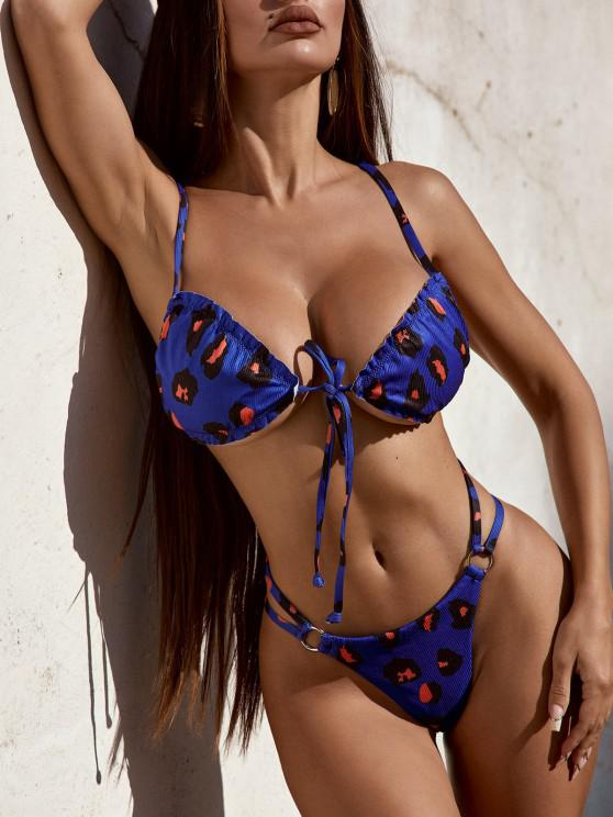 new ZAFUL Ribbed Ring Tie Front Print Tanga Bikini Swimwear - BLUE L